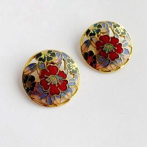 Vintage Enamel Clip On Floral Gold Tone Earrings